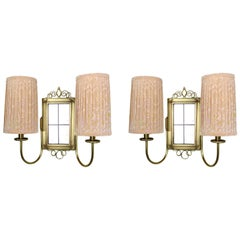 Pair of Brass Wall Lights with Fabric Shades, Germany, 1930s