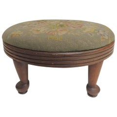 Vintage Oval Footstool with Floral Tapestry Upholstery