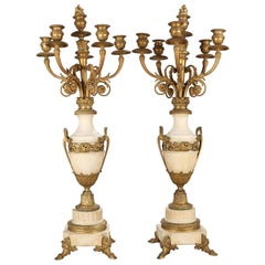 Oversized French Classical Urn Form Marble and Gilt Bronze Candelabras