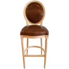 Louis XVI Style Wooden Painted Bar Stool with Oval Back for Custom Order