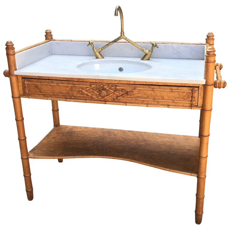 French Faux Bamboo with Marble Top Sink and Brass Faucet from 19th Century