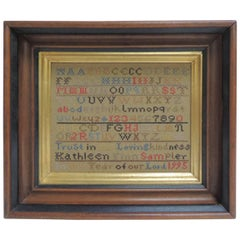 Vintage Alphabet Hand Embroidery Sampler on Wooden Frame