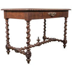 19th Century French Louis XIII Style Double Barley Twist Writing Table or Desk