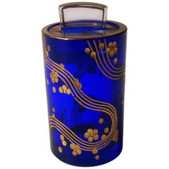 Blue and Gold Art Deco Fachschule Haida Ortel Pot and Cover