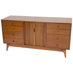 Midcentury Walnut Dresser or Chest with Tambour Doors and Drawers