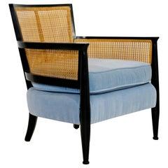 Mid-Century Modern Cane Ebonized Black Wood Lounge Armchair Dunbar Baker Style