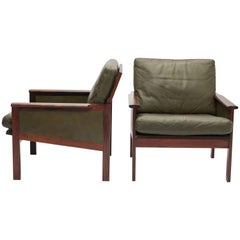 Pair of Danish Rosewood and Green Leather Armchairs by Illum Wikkelsø