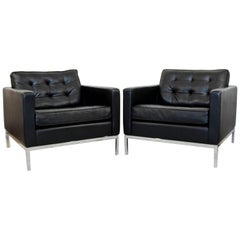 Mid-Century Modern Pair of Knoll Black Leather Chrome Tufted Cube Lounge Chairs