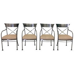 Four Chrome and Brass Armchairs DIA Design Institute of America