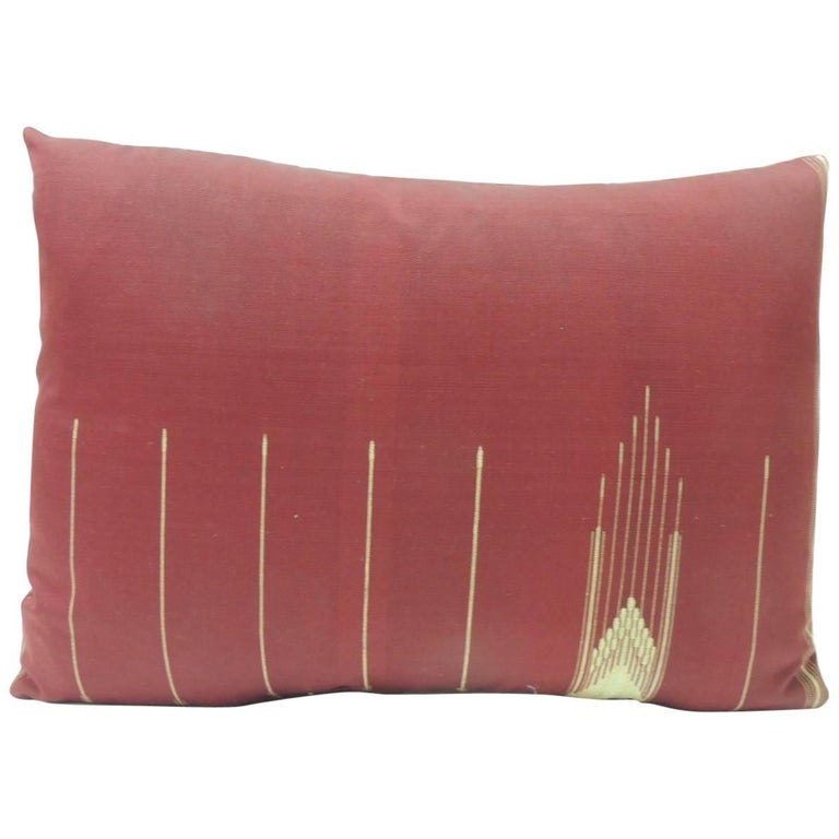 19th Century Persian Red Cotton Decorative Bolster Pillow