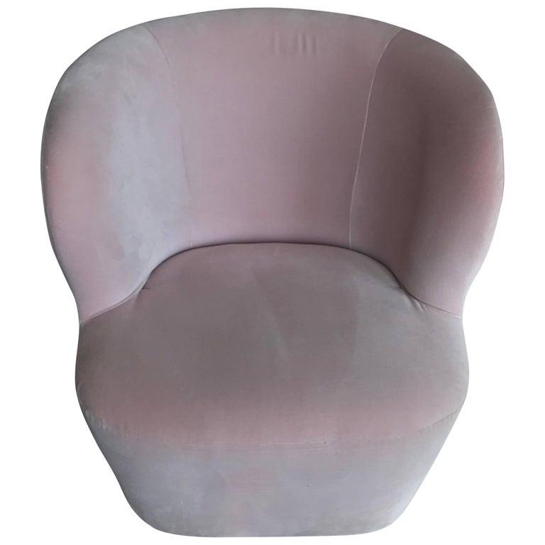 Space Copenhagen Stay Lounge Chair in Rose Cotton Velvet and Swivel Base