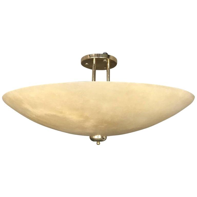 Art Deco Style Extra Large and Great Shape Alabaster Pendant or Flush Mount