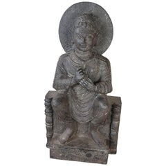 Granite Sitting Buddha, India, Early 1900s