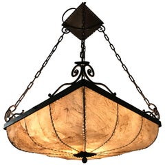 Early 1900s Antique Wrought Iron Square Shape Pendant Light with Real Hide Shade