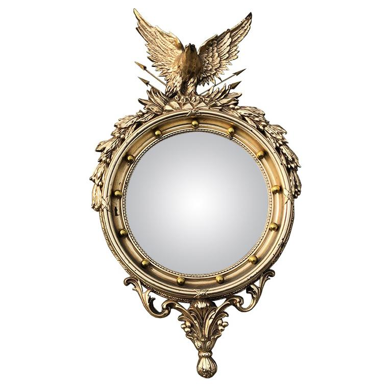 Large Ornate Federal Admiral Eagle Convex Mirror For Sale
