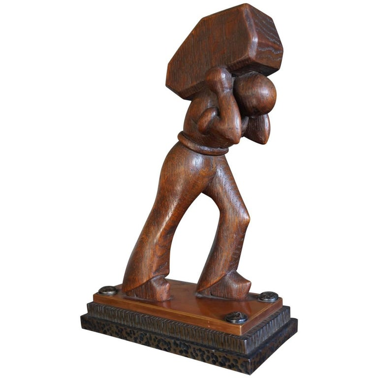 Stunning Art Deco Working Man Carrying a Hay Bale Sculpture on Brass & Iron Base