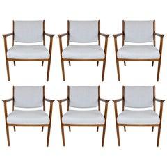 Set of Six Swedish Midcentury Armchairs in Walnut by Karl Erik Ekselius