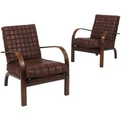 Pair of 1930s Leather and Stained Beech Armchairs Manufactured by Fritz Hansen