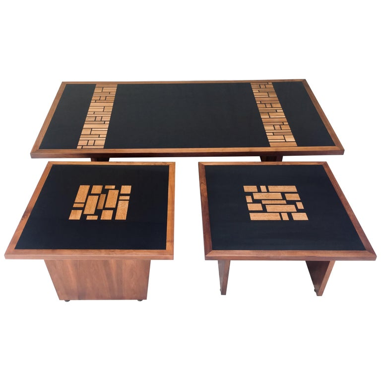 Set of Three, Frank Rohloff, 1960s, Walnut and Black Lacquer Mosaic Tables For Sale
