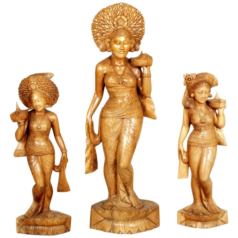 Early 20th Century Three Hindu Deities of the Siam, Hand-Carved Exotic Hardwood