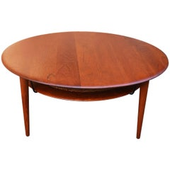 Hvidt & Mølgaard FD 515 Solid Teak Round Coffee Table Floating Cane Shelf