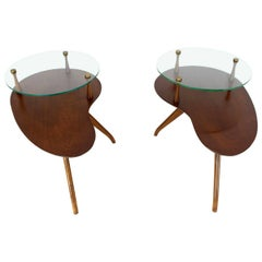 Pair of Kidney Organic Shape Two-Tier Tri-Legged Side Tables