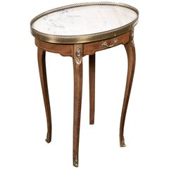 Louis XV Style Oval Kingwood Bouillotte Table