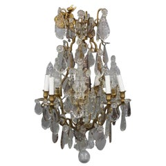 Beautiful Baccarat Style Bronze and Crystal Chandelier with Spearpoints