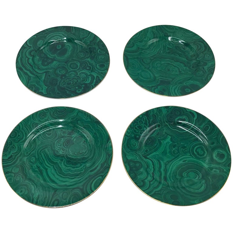 1980s Neiman Marcus Malachite Porcelain Dessert Plates, Set of Four