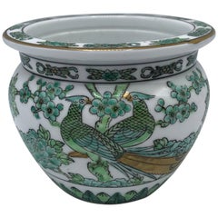 1970s Gold Imari Green and White Cachepot with Peacock Motif