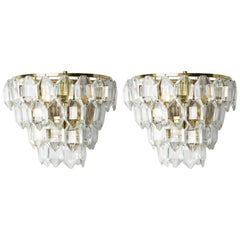 Pair of Palwa Sconces with Numerous Crystals on a Gilt Rose Gold Frame,Vienna