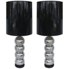 George Kovacs Stacked Ball Table Lamps with Gloss Shades, Pair