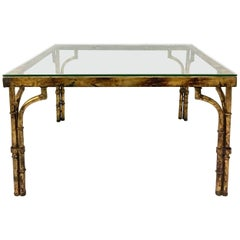 Contemporary Faux Bamboo and Glass Top Burnished Gold Iron Coffee Table