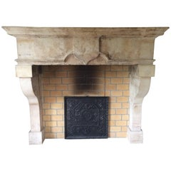 French Antique Castle Fireplace from 1600s, Original and Authentic from France