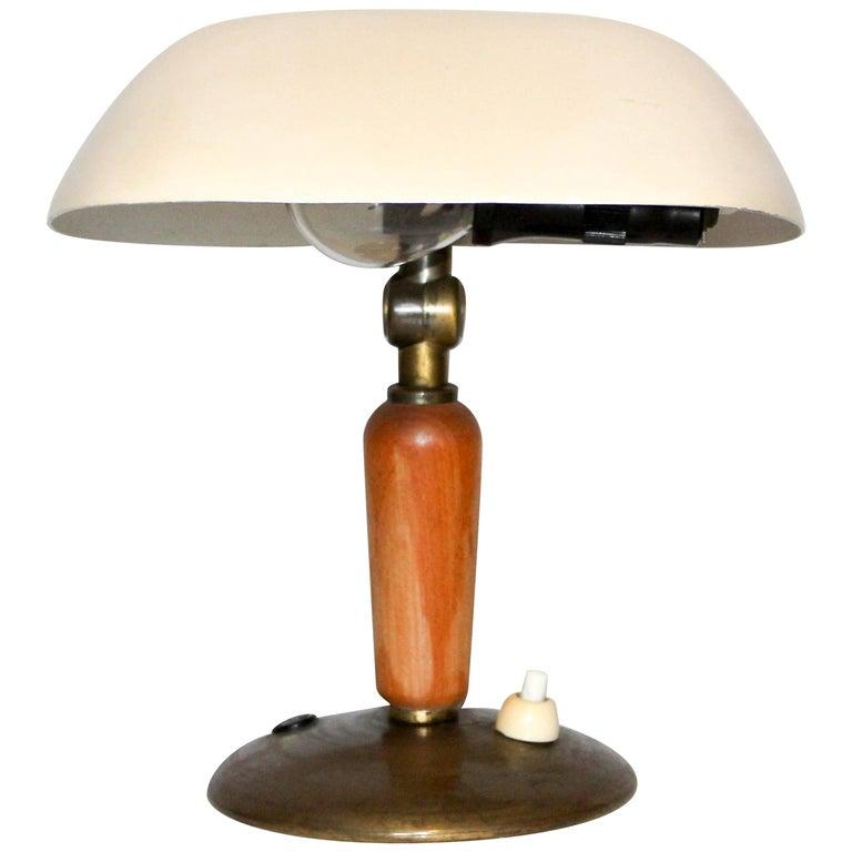 Midcentury Small Swedish Brass Desk Lamp by Hans Bergström