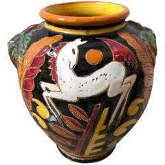 Hand-Painted Italian Ceramic Vase, circa 1930