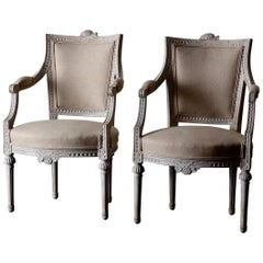 Armchairs Pair of Gustavian 19th Century Swedish White Sweden