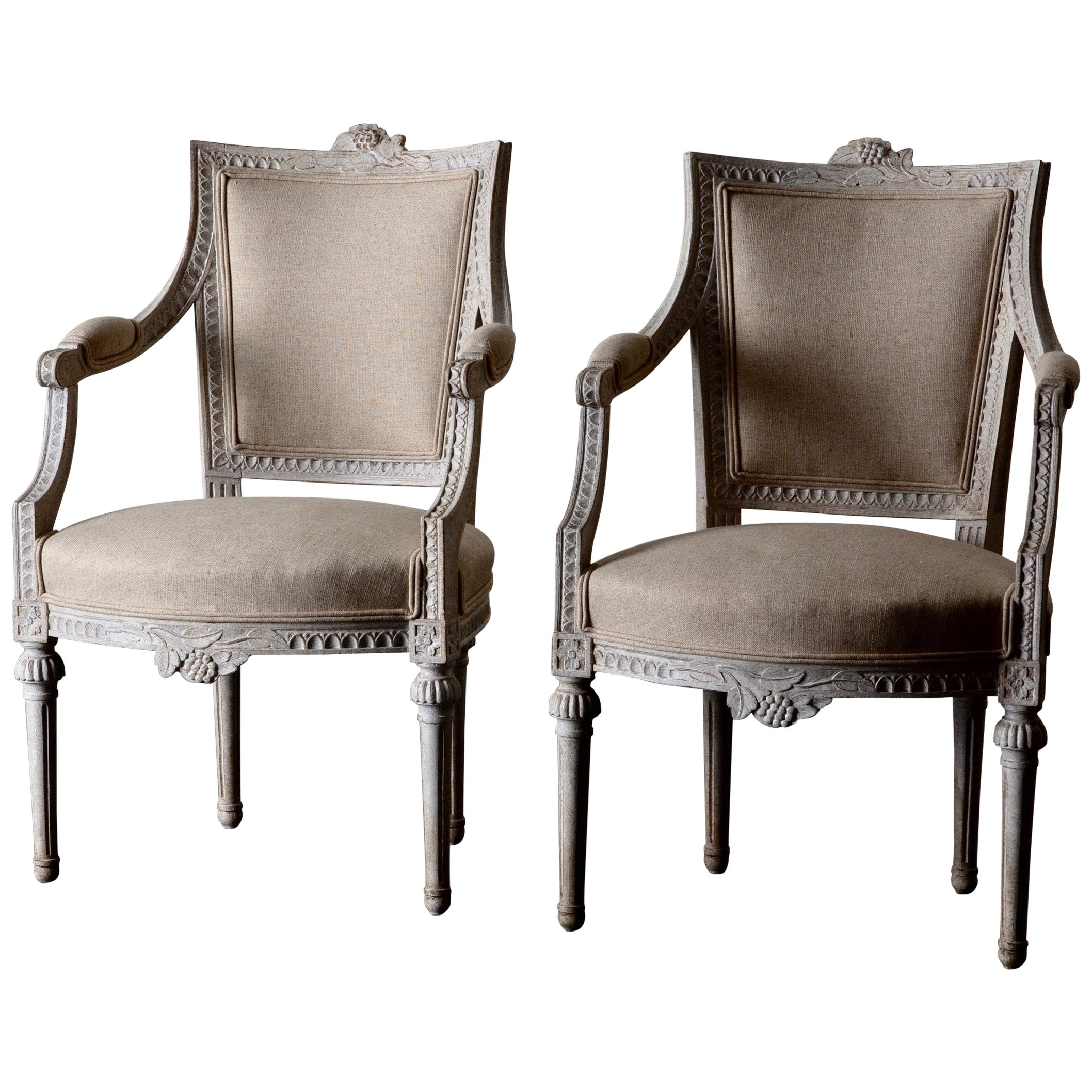 Armchairs Pair of Gustavian 19th Century Swedish White Beige Sweden