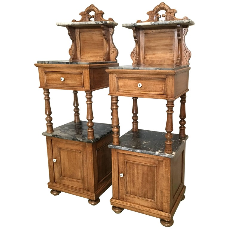 Antique Tall And High Top Solid Oak Bedside Cabinets With Marble Drawer For