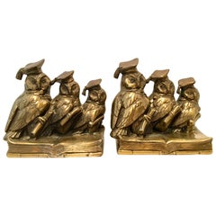 "Mid-Century Pair of Solid Brass ""Scholarly Owl"" Bookends by Jennings Brothers"