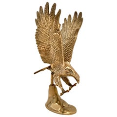 20th Century Solid Brass Eagle Sculpture