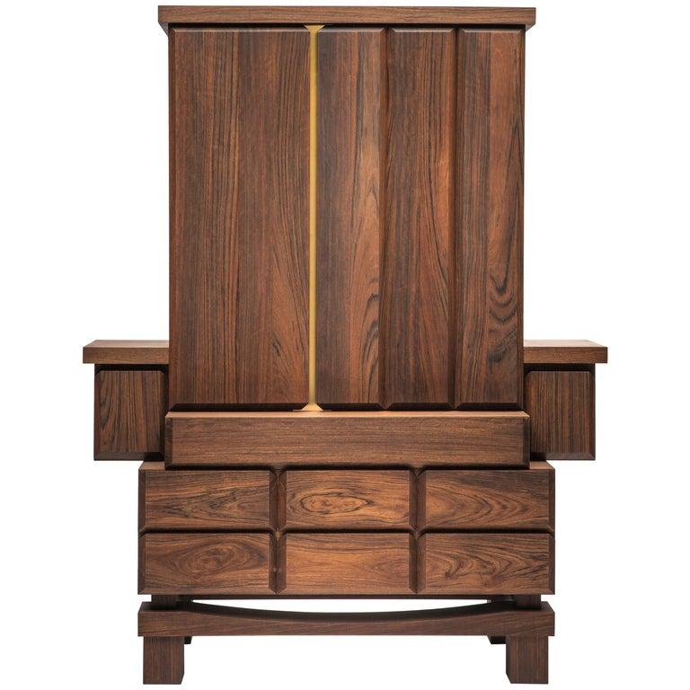 Brass and Walnut Wood Sideboard Credenza Designed by Antonio Aricò