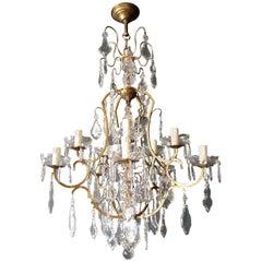 Crystal Chandelier Antique Ceiling Lamp Lustre Art Nouveau Lamp Rarity, 1930