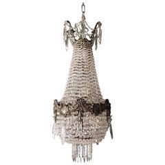 Rarity Empire Sac a Pearl Chandelier Crystal Hall Lamp Lustre Art Nouveau, 1900