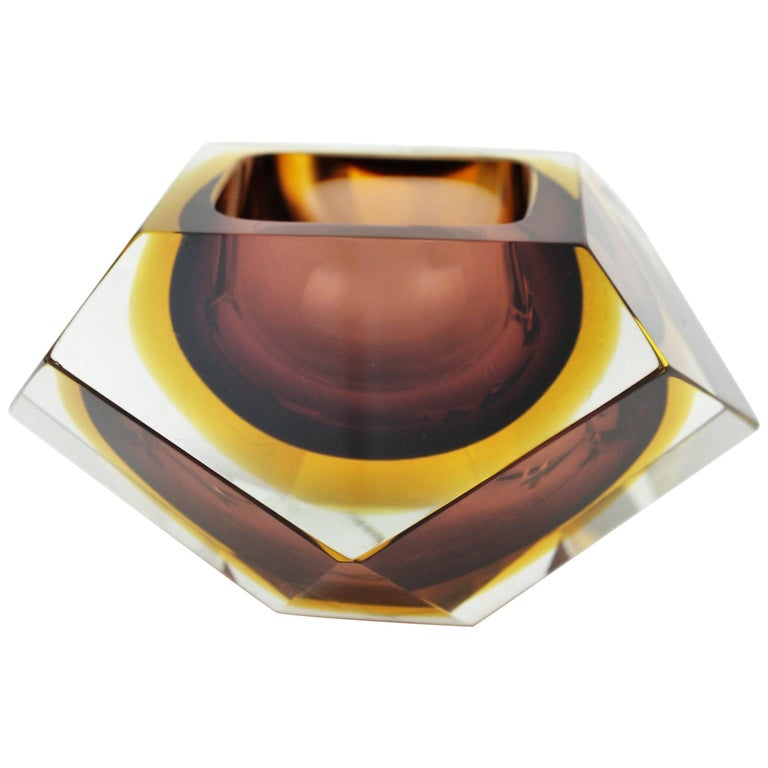 Large Flavio Poli Brown & Amber Sommerso Diamond Shape Faceted Murano Glass Bowl
