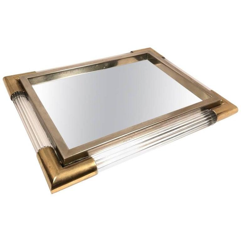 Rare Table Mirror 1970s Silver and Gold Square