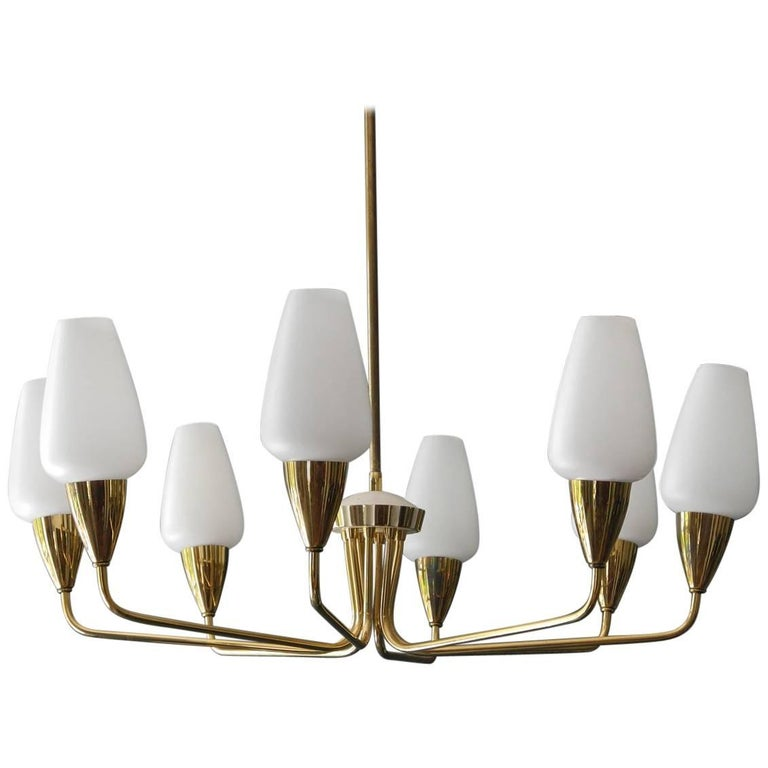 Large Italian Mid-Century Modern Brass Chandelier with Glass Shades