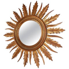 French Gold Gilt Sunburst Starburst Mirror, circa 1940