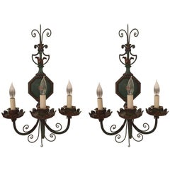 Lovely Pair of Green Tole Sconces