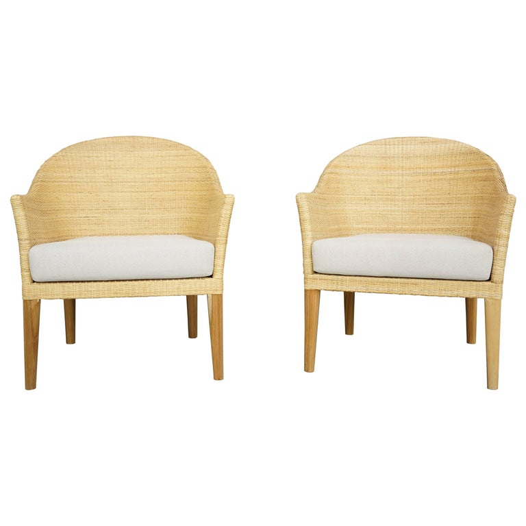 Pair of Rattan and Wooden Teak Club Armchairs French Design